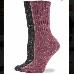 HUE 2pack Tweed rib boot socks